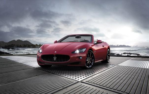 Фото обои море, волны, красный, города, океан, Maserati, тачки