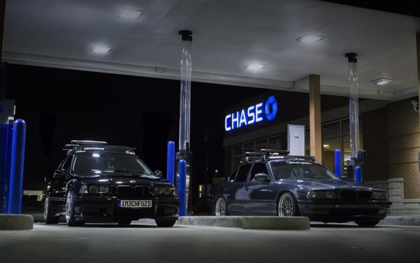 Фото обои заправка, BMW, tuning, бумер, E36, E38, Bimmer