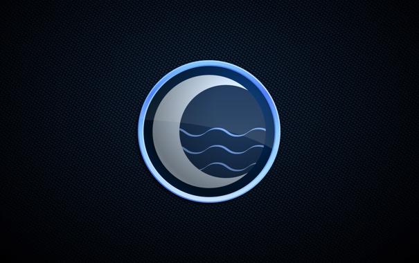 Фото обои волны, вода, природа, луна, минимализм, месяц, черный фон