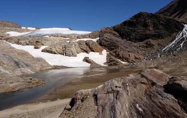 Фото обои вода, снег, горы, река, камни, скалы