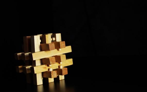 Фото обои фон, черный, Кубик, головоломка
