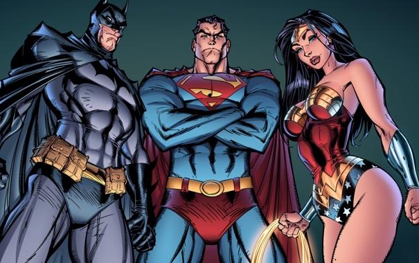 Фото обои batman, superman, dark knight, wonder woman