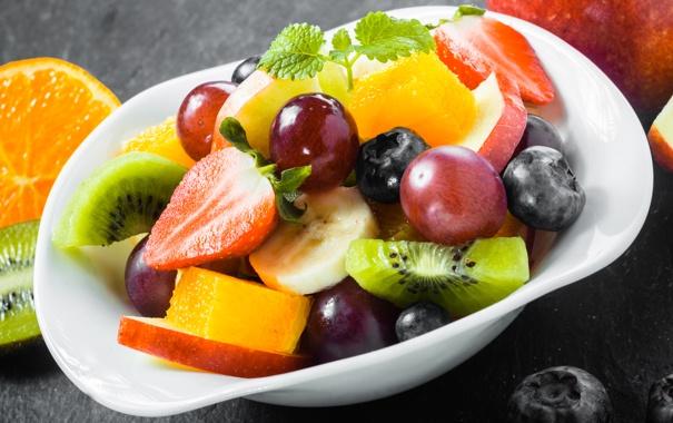 Фото обои киви, клубника, виноград, банан, десерт, фруктовый салат