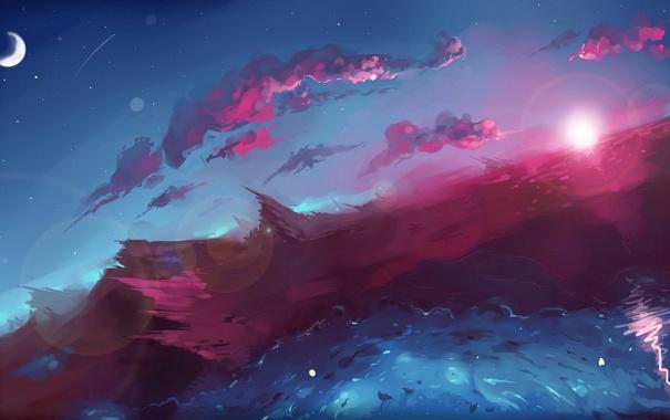 Фото обои волны, облака, месяц, арт