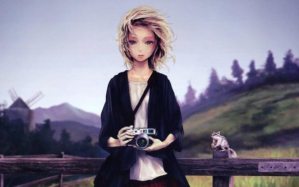 Фото обои девушка, фотоаппарат, бурундук