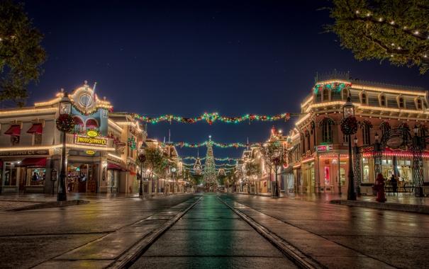 Фото обои дорога, небо, город, огни, праздник, новый год, рождество