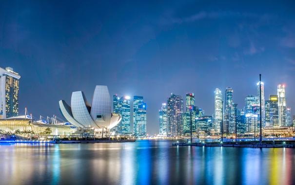 Фото обои ночь, дизайн, огни, здания, небоскребы, фонари, Сингапур