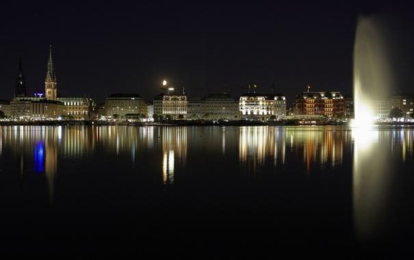 Фото обои ночь, огни, дома, Германия, фонтан, ратуша, озеро Альстер