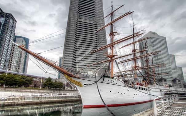 Фото обои город, корабль, пристань