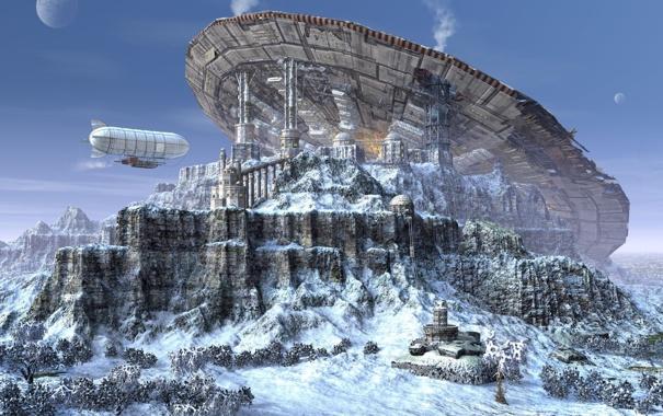 Фото обои снег, скалы, планета, база, дирижабль