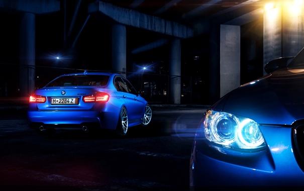 Фото обои синий, bmw, бмв, blue, 335i, задок, свет фар