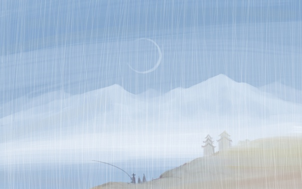 Фото обои горы, дождь, луна, берег, рыбак, серп, нарисованный пейзаж