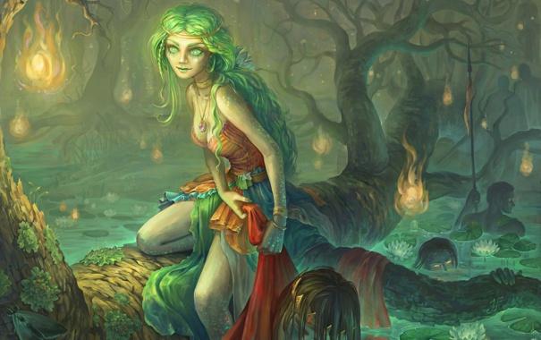 Фото обои лес, девушка, огни, пруд, дерево, болото, корона