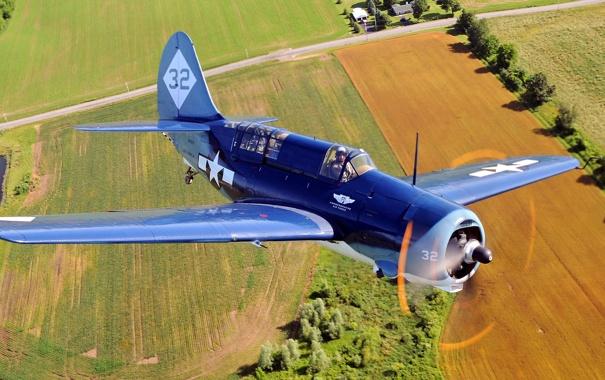 Фото обои поле, полет, самолет, истребитель, пропеллер