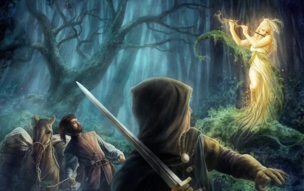 Фото обои лес, конь, удивление, меч, чаща, арт, лесная нимфа