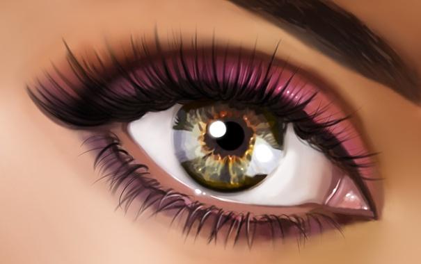 Фото обои бровь, тени, ресницы, глаз, зрачок, макро, макияж