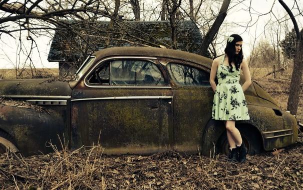 Фото обои машина, девушка, настроение