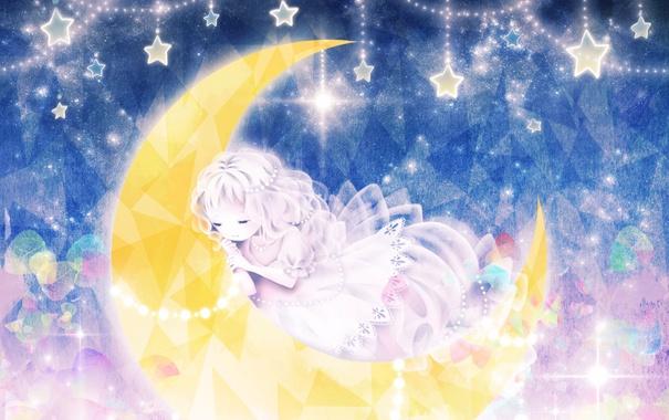 Фото обои звезды, месяц, спит, Девочка, грани, малышка, сверкает