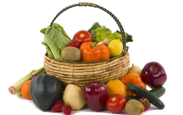 Фото обои корзина, овощи, фрукты. ягоды