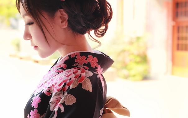 Фото обои лицо, стиль, одежда, кимоно, азиатка