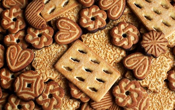 Фото обои текстура, печенье, сахар, кунжут, фигурное