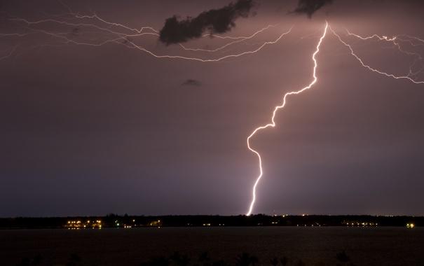 Фото обои небо, свет, ночь, молния, гром