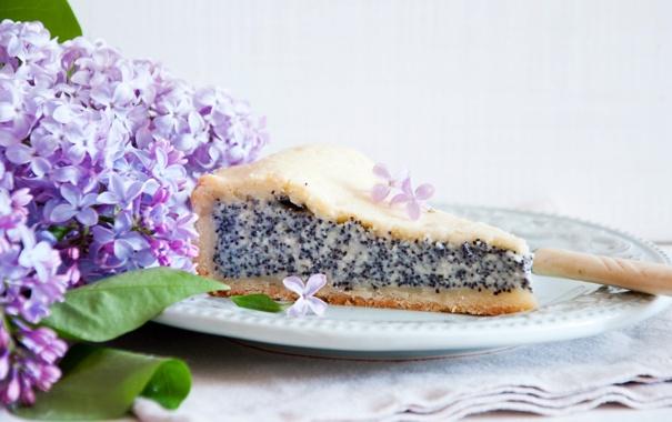 Фото обои цветы, пирог, сирень, кусок, маковый
