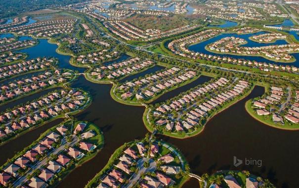 Фото обои вода, город, дом, панорама, USA, США, коттедж