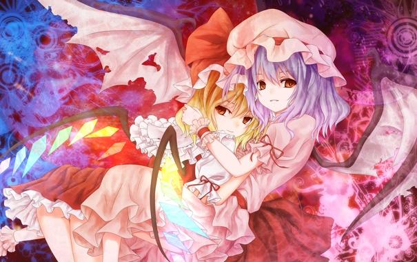 Фото обои взгляд, крылья, демоны, сёстры, обнимает, Скарлет, ТоХо