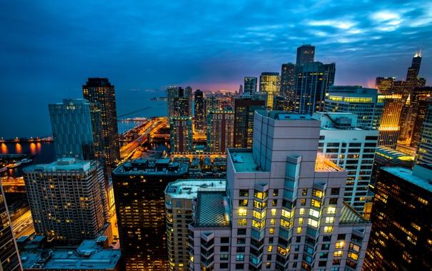 Фото обои свет, город, огни, здания, дома, небоскребы, вечер