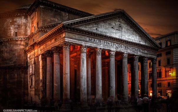 Фото обои свет, ночь, Рим, photographer, Пантеон, Guerel Sahin