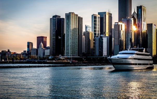Фото обои вода, закат, город, небоскребы, яхта, Чикаго, Chicago
