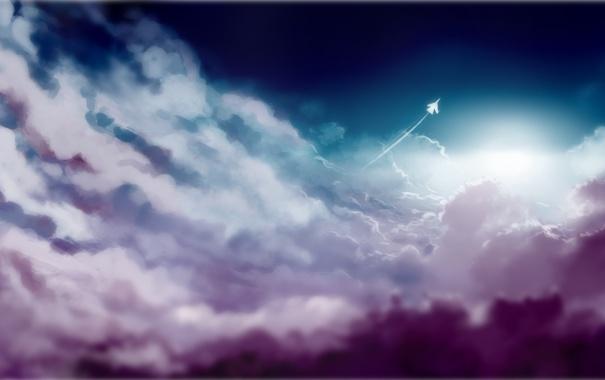 Фото обои облака, след, арт, самолёт