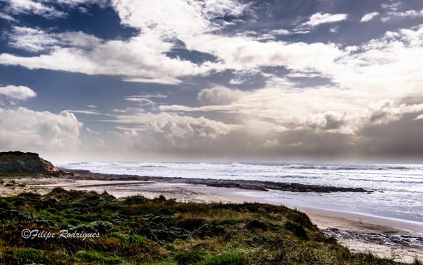 Фото обои море, волны, пляж, облака, Filipe Rodrigues