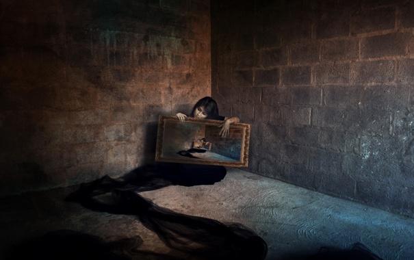Фото обои девушка, фон, комната, рамка, рекурсия