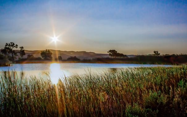 Фото обои лучи, США, Миннеаполис, небо. солнце, озеро Харриет, Lake Harriet