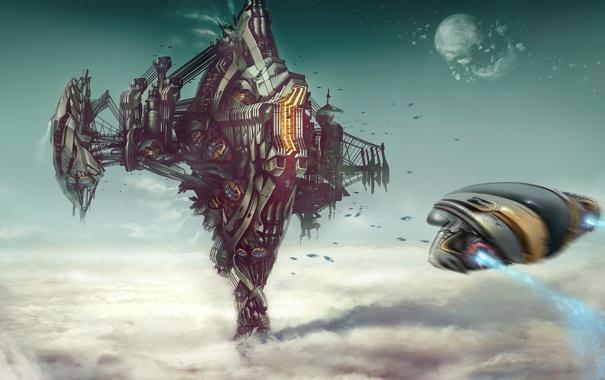 Фото обои clouds, landing, steel, construction, spacecraft, powerful platform, Robert Simons