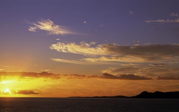 Фото обои море, небо, солнце, облака, закат, панорама