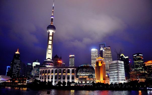 Фото обои вода, ночь, огни, отражение, Шанхай, горд