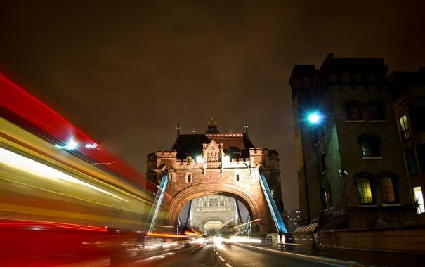 Фото обои машины, ночь, город, огни, Англия, Лондон, вечер