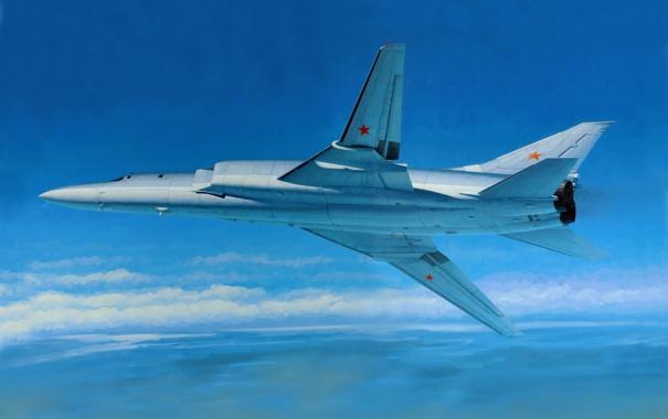 Фото обои небо, облака, рисунок, горизонт, Backfire, крыла, ВВС России