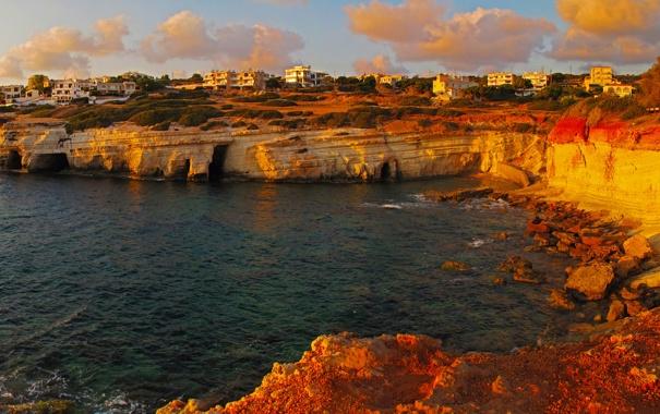 Фото обои Pegeia, город, побережье, Кипр, дома, фото