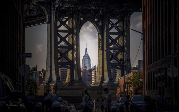 Фото обои дорога, мост, город, люди, дома, мегаполис