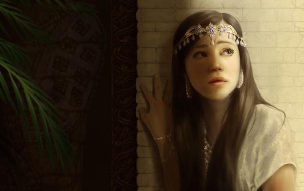 Фото обои листья, девушка, украшения, стена, арт, диадема
