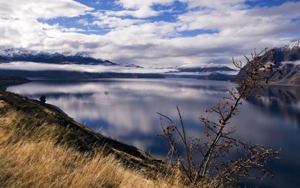 Фото обои небо, трава, вода, облака, горы, озеро, гладь