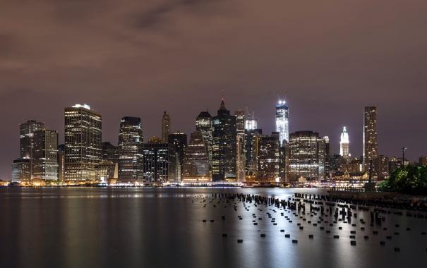 Фото обои ночь, город, Downtown Manhattan