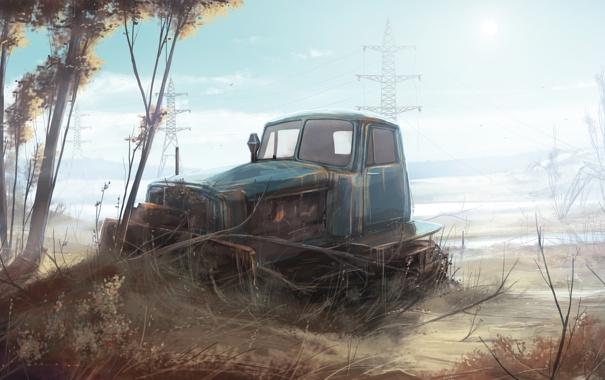 Фото обои поле, техника, арт, трактор, Гусеничный