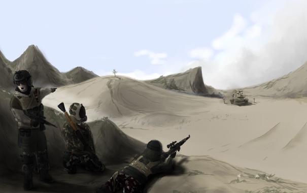 Фото обои оружие, война, пустыня, солдаты, war