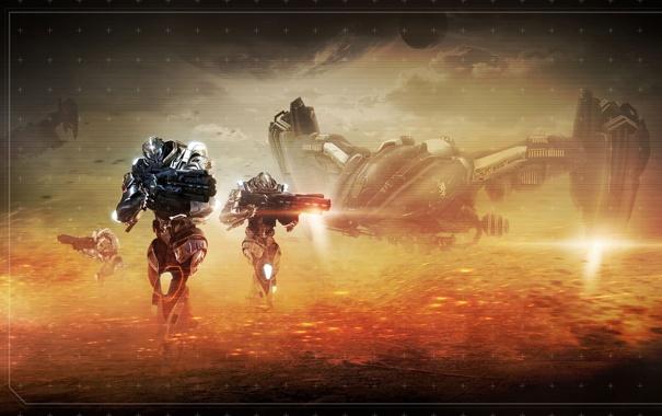 Фото обои будущее, фантастика, солдаты, section 8, космический корабль