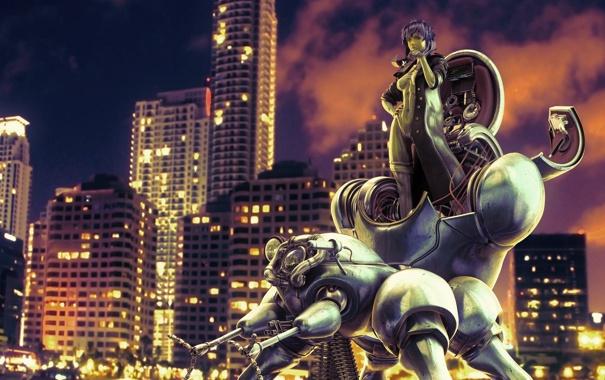 Фото обои девушка, город, робот, GITS TRIBUTE II